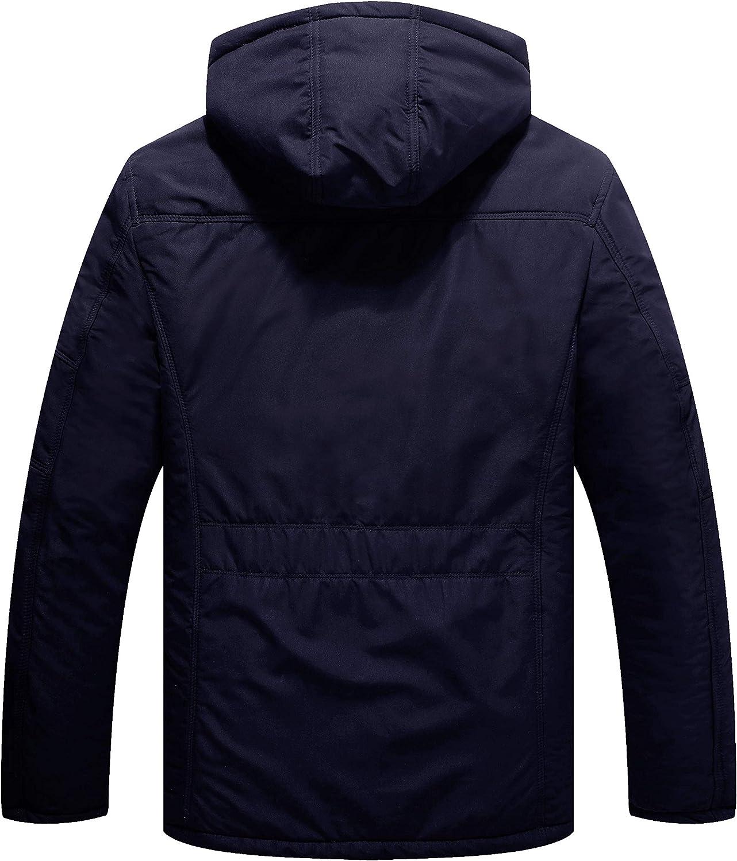WenVen Men's Warm Thicken Hooded Parka Winter Heavy Sherpa Lined Padded Coat