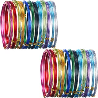 Shappy 24 Rolls Multi-Colored Aluminum Craft Wire, Flexible Metal for Art Creation and Jewelry Ornaments, 15 Gauge and 20 Gauge