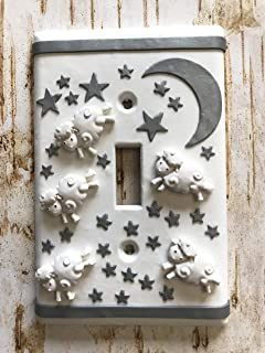 Handmade Light Switch Plate or Outlet Cover Sculpture 3D Lamb Moon Made for kids, Nursery, Baby Shower, Birthday Children Decor Polymer Clay