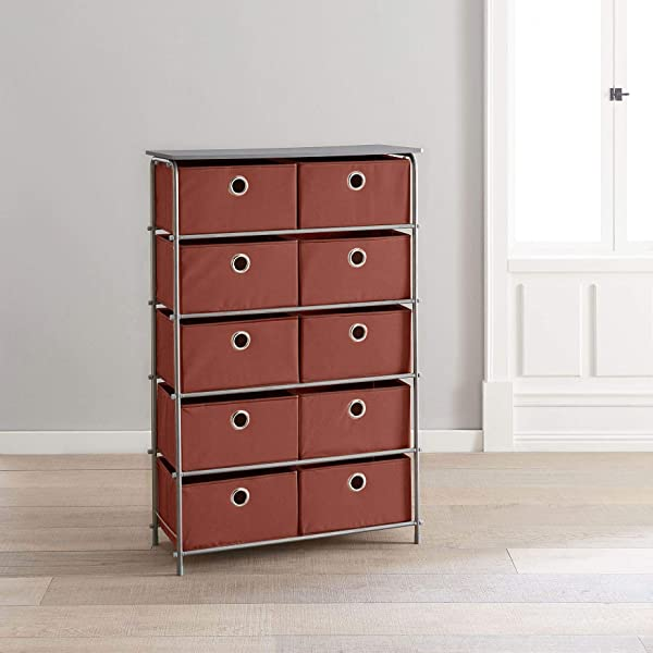 BrylaneHome Eve 10 Drawer Soft Storage Cart Terracotta