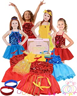 Click N' Play 25Piece Princess Dress Up Trunk Set with 4 Assorted Colorful Dress Up Set, Jewelry, Necklaces, Rings, Bracel...