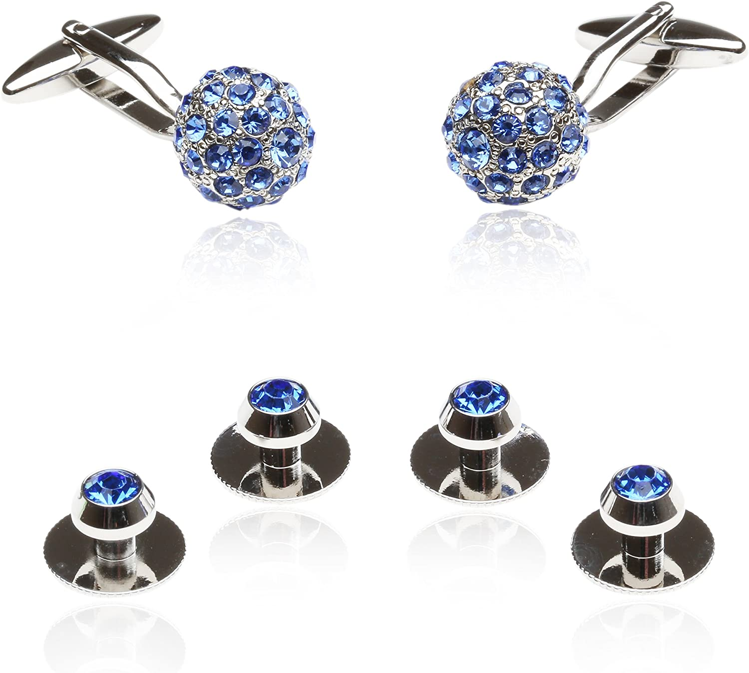 Blue Crystal Ball Cufflinks and Studs in Blue with Gift Box