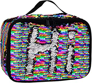 Insulated Mermaid Lunch Box, Reversible Sequin Flip Color Change Fashion Lunch Tote, Perfect for Working Women or Kids (Rainbow001)