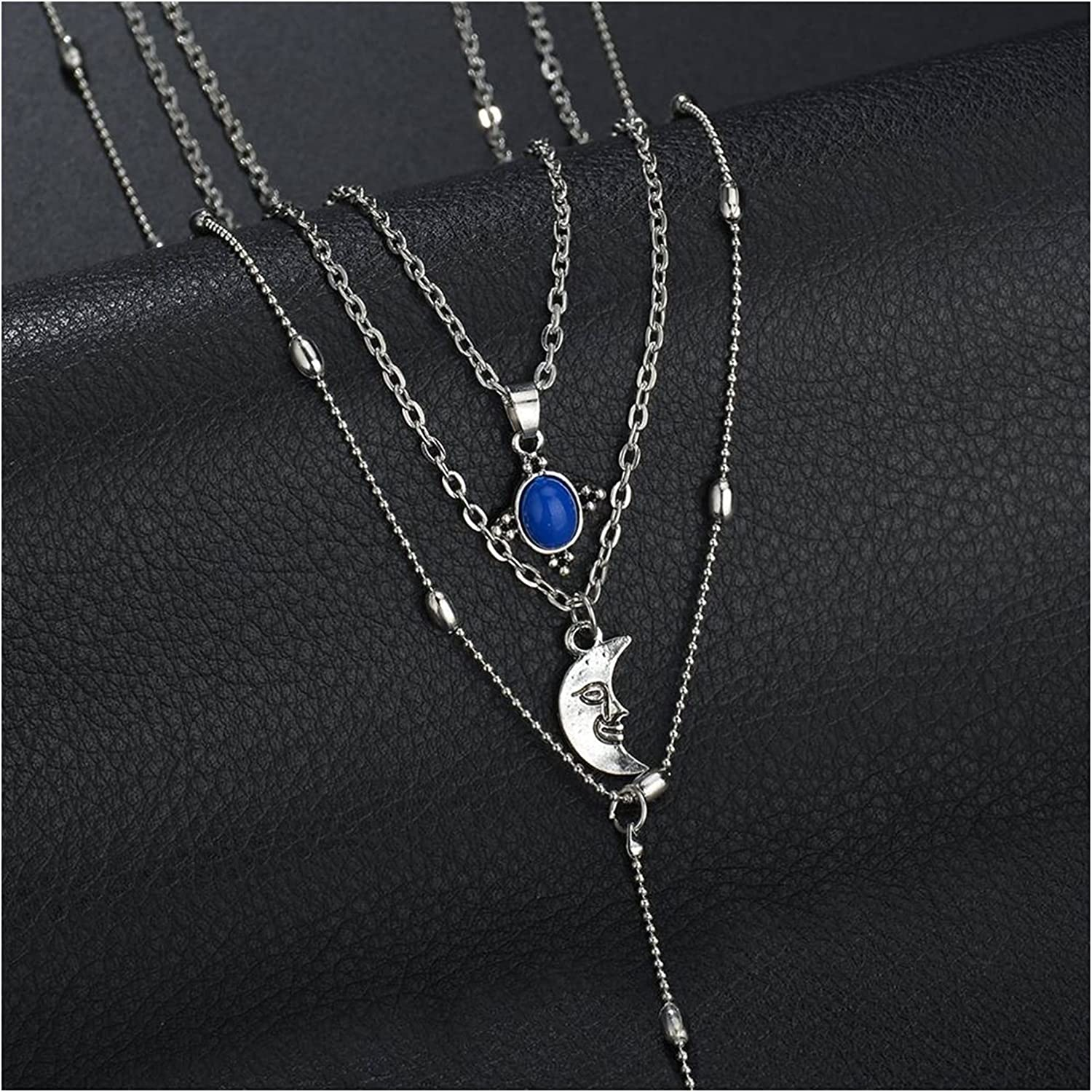 Style Metal Moon Face Portrait Multiple Chains Necklace Choker Pendent Necklace for Women Collar Neck