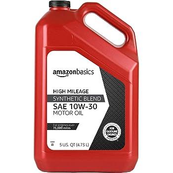 AmazonBasics High Mileage Motor Oil - Synthetic Blend - 10W-30 - 5 Quart