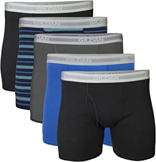 Gildan Men's Short Leg Boxer Briefs, 5-Pack, Black/Royal/Charcoal/Stripe