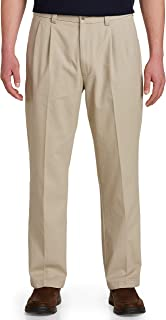 Harbor Bay by DXL Big and Tall Waist-Relaxer Pleated Twill Pants