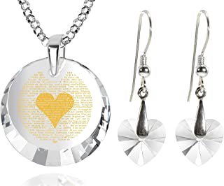 120 Languages I Love You Necklace and Crystal Heart Dangle Earrings Romantic Jewelry Set Love Pendant is 24k Gold Inscribe...