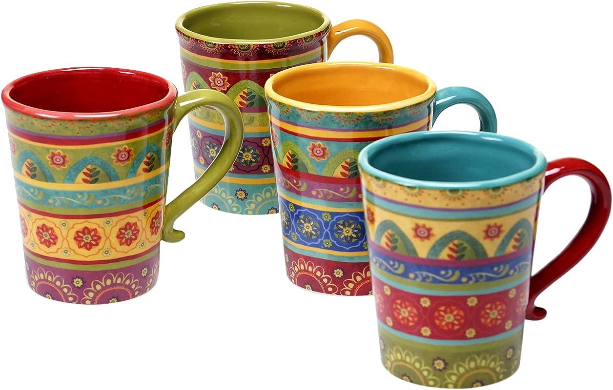 Certified International 22452SET 4 Tunisian Sunset Mugs Set Of 4 18 Oz Multicolor