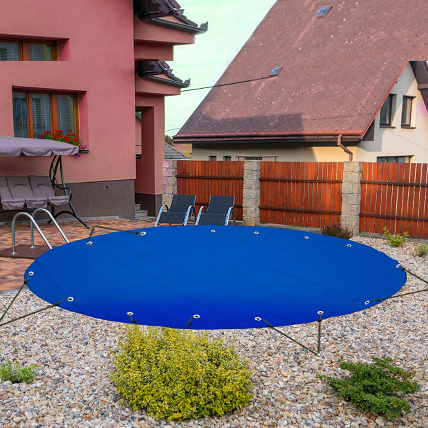 Quality inspection VEVOR Surprise price Pool Safety Cover 14.7 Blue ft Dia. In-ground