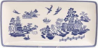 Grace Teaware Bone China Blue Willow Serving Tray 9.75 x 5-Inch (Single)
