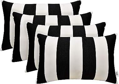 """RSH Décor Set of 4 Indoor Outdoor Decorative Rectangle Lumbar Throw Pillows Sunbrella Cabana Classic (20"""" x 12"""")"""