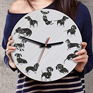 VTH Global 12 Inch Silent Battery Operated Dachshund Dog Wood Wall Clocks Wiener Gifts for Dad Mom Pet Lovers