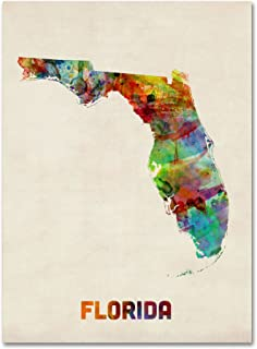 Florida Map by Michael Tompsett, 24 by 32-Inch Canvas Wall Art