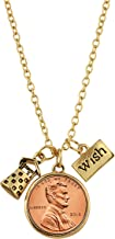 American Coin Treasures Wishing Well Penny Charm Gold Tone Necklace