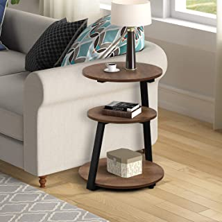 Sponsored Ad - Wood Shelf Nightstand,Round End Side Table