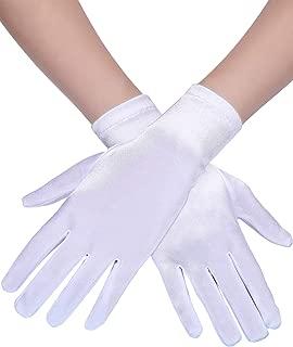 3 Paar Damen Kurze Satin Handschuhe Handgelenk Länge Handschuhe Kleid Handschuhe Opera Handschuhe für Party (Weiß)