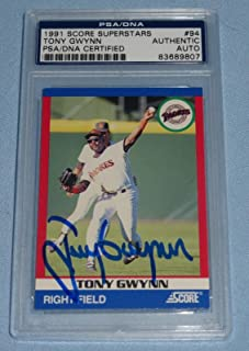 Tony Gwynn Signed 1991 Score Superstars Baseball Card #94 COA Autograph - PSA/DNA Certified - Baseball Slabbed Autographed Cards