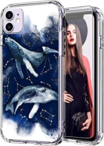 ICEDIO iPhone 11 Case with Screen Protector,Clear with Fashion Floral Designs for Girls Women,Shockproof Slim Fit TPU Cover Protective Phone Case for Apple iPhone 11 6.1 inch Blue Whales