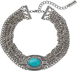 Steve Madden - Oval Turquoise Stone w/ Four Row Chain Choker Necklace