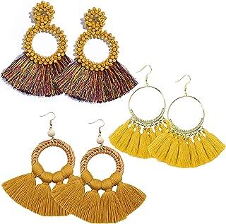 RIOSO Hoop Tassel Earring Beaded Fringe Dangle Earrings Statement Fan Tassel Drop Earring for Women Girls