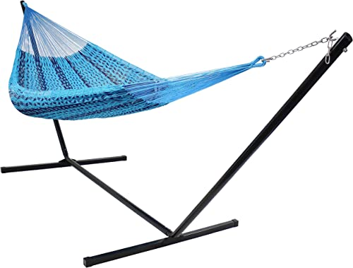 wholesale Sunnydaze Hand-Woven Portable Mayan Hammock with Stand - XXL Thick Cord Family Size Hammock with 15 wholesale Foot Steel Stand outlet sale - 400-Pound Capacity - Blue online
