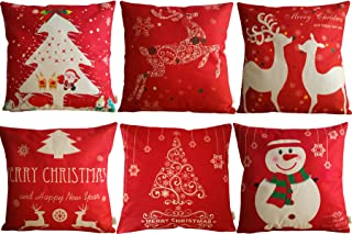 HOSL SD39 Merry Christmas Series Blend Linen Throw Pillow Case Decorative Cushion Cover Pillowcase Square 18 - Set of 6