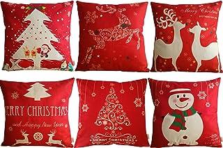 HOSL SD39 Merry Christmas Series Blend Linen Throw Pillow Case Decorative Cushion Cover Pillowcase Square 18 - Set of 6