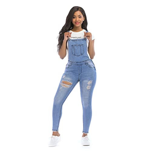 a781b042aff5 POPTIME Women s Jeans Jumpsuit Long Denim Ripped Distressed Trousers  Overalls Strap