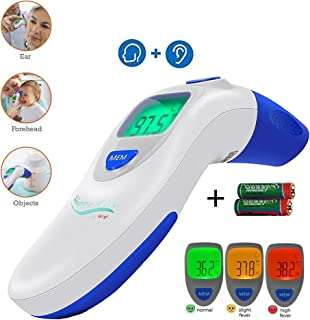 Baby, Children's, Adult Ear and Forehead Digital Thermometer - Temporal Electronic Infrared, Dual F & C Temperature Mode, Fast 1 Second Read, For Infants, Babies, Kids & Adults, Ear Termometro Digital