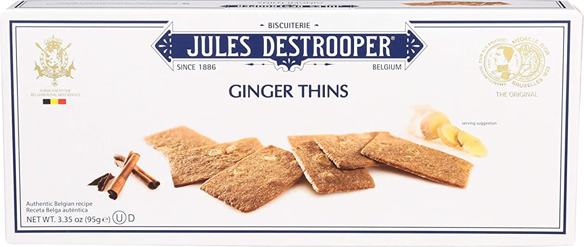 Jules Destrooper Ginger Thins, Belgian Ginger-Cinnamon Cookies, 3.35-Ounce Box (Pack of 12)
