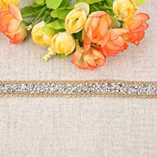 Strass Lint Mesh Wrap Roll, Gouden Rand DIY Zilver Strass Mesh Lint, 15mm voor Home Decor Kleding Decor Mobiele Telefoon S...