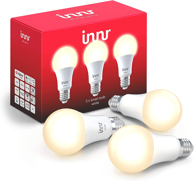 Innr E27 Bombilla LED conectada, luz blanca cálida, compatible with Philips Hue* (Puente requerido) & Echo Plus, RB 265 (3-Pack)