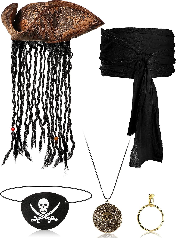 5 Piezas Set de Disfraz de Pirata, Sombrero Pirata con Rastas Pendiente Pirata de Oro de Plástico Collar de Moneda Calavera Metal Parche Pirata Caribeño Fajín Grande de Halloween (Negro)