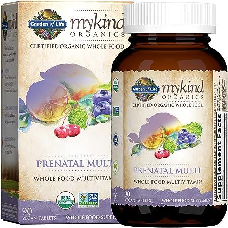 Garden of Life Prenatal Vitamins - mykind Organics Prenatal Multi - 90 Tablets, Vegan Whole Food Multivitamin, Folate not Folic Acid & Stomach Soothing Blend, Organic Prenatals Supplements for Women