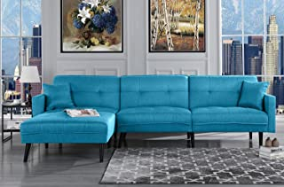 Futon Sleeper Sofa Bed Couch, Convertible Blue Futon Sofa Sectional with Chaise, (Sofa to Bed Feature) Modern Futon Sofa Beds L-Shaped Lounger Sectional Sofa Couch & Fully Reclining Chaise, Sky Blue