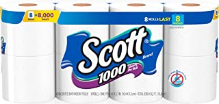Scott 1000 Sheets Per Roll Toilet Paper, 32 Rolls (4 Packs of 8), Bath Tissue