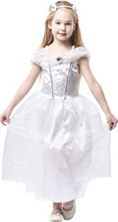 Blue Panda Wedding Dress - Kids Bride Costume, Bridal Gown for Girls Dress-up, White