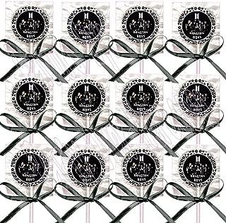 K pop Boy Band Group Army Vest Logo Border Dots Lollipops K-Pop Party Favors Supplies Decorations - w/Black Ribbon Bows Party Favors (12 pcs) South Korean Boy Band Jin Suga J-Hope RM Jimin V Jungkook