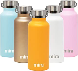 MIRA Alpine Stainless Steel Vacuum Insulated Water Bottle with 2 Lids, Sports Thermos Flask Keeps Cold 24 Hours, Hot 12 Hours (17 Ounce, Pumpkin)