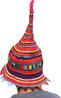 Raan Pah Muang Pointy Carnival Striped Spikey Hat Made Thai Lisu Hill Tribes