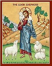 Monastery Icons Jesus The Good Shepherd Mounted Plaque Icon Reproduction (7.8