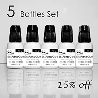[5-bottle Set:15% Off ] 5ml Mia Extreme Glue Adhesive Fast Strong Eyelash Extension Semi Permanent Low Fume … (5 Bottles(15% Off))