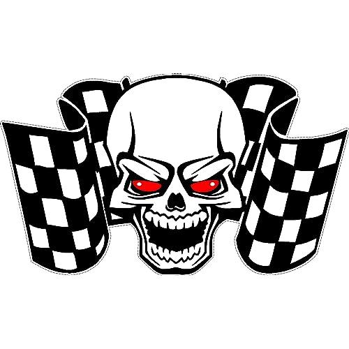 Racing Skull   Chequered Flags Car Motorbike Rally Sticker LSSK3 aba3b3352311