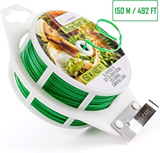 Plant Twist Ties Coated 492 Feet - Multifunctional Green Plastic Twist Wire with Cutter for Gardens Tomato Vines Orchid Vegetable Home Office Organization Climbing Support Peony Gardening Supplies