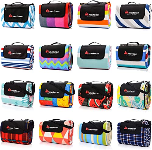 Meteor Large Foldable Waterproof Fleece Picnic Blanket with Carrying Handle Strap and Pocket Outdoor Camping Rug Beac...