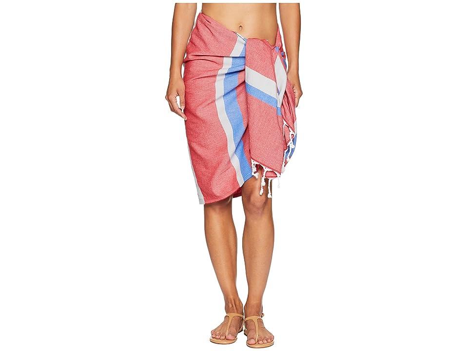 Plush Soleil Turkish Blanket Wrap Pareo (Red/Blue) Scarves