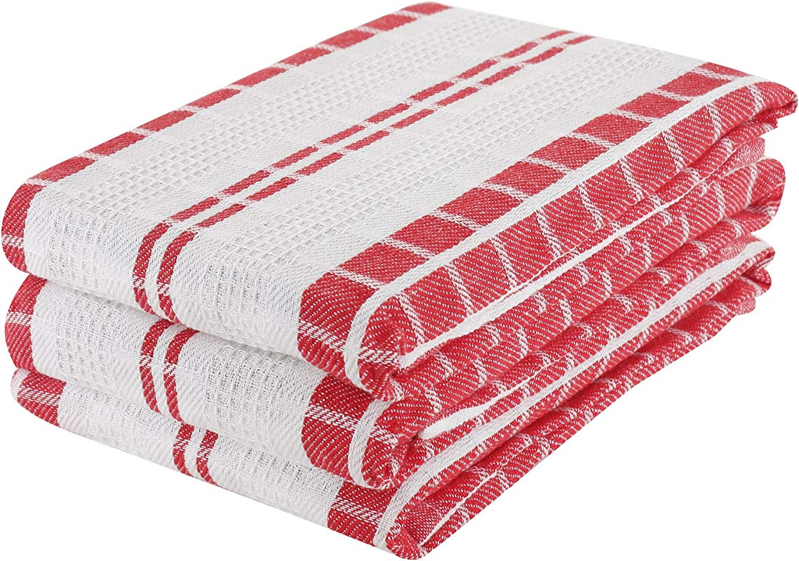 Kitchen Towels 100 Cotton Waffle Stripe Kitchen Dish Towels Red Set Of 3 17 X 25 Inch Premium Quality Made With Fine Yarn