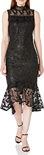 Calvin Klein Women's Sleeveless Mock Neck Lace Midi with Illusion Detail