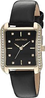 ساعة يد أرمترون بسوار جلدي مزين بكريستالات سواروفسكي للنساء